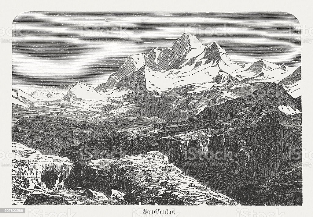 Mount Everest (falsely Gaurishankar), wood engraving, published in 1882 stock photo