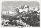 Mount Everest (falsely Gaurishankar), wood engraving, published in 1882