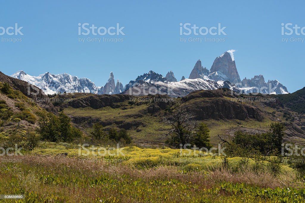 Mount Fitz Roy panorama stock photo