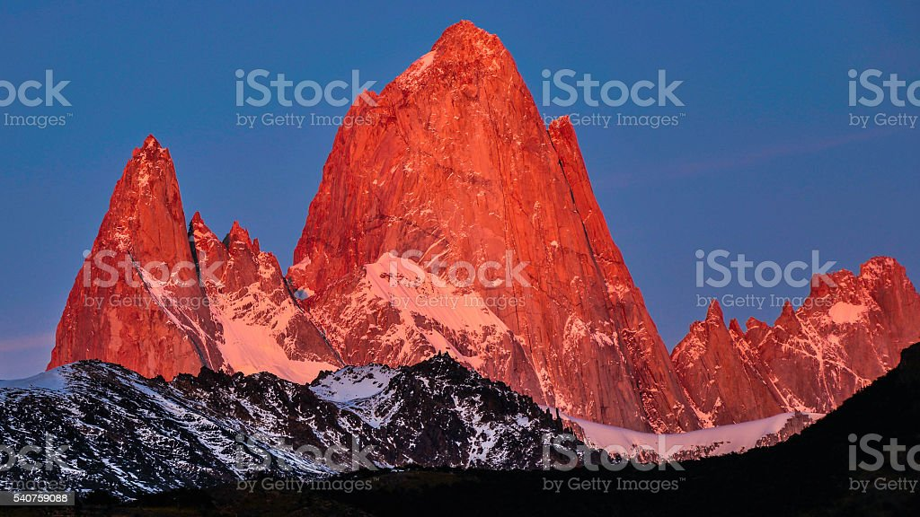 Mount Fitzroy from El Chalten, Patagonia, Argentina stock photo