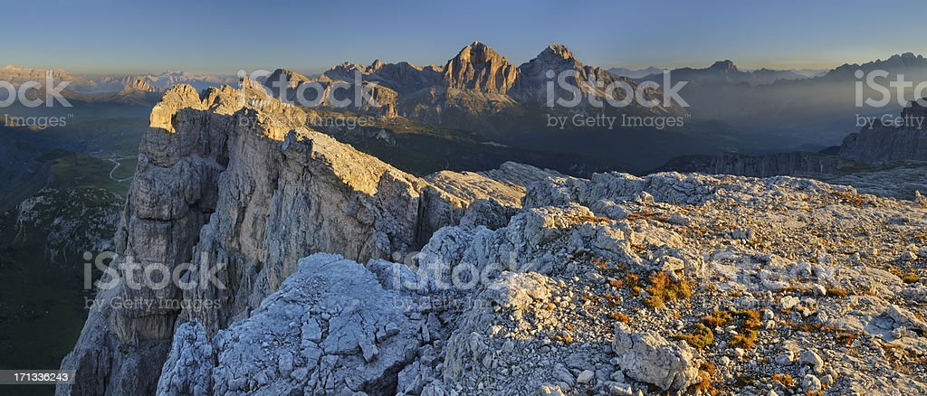Mount Formin at dawn (Dolomites - Italy) stock photo