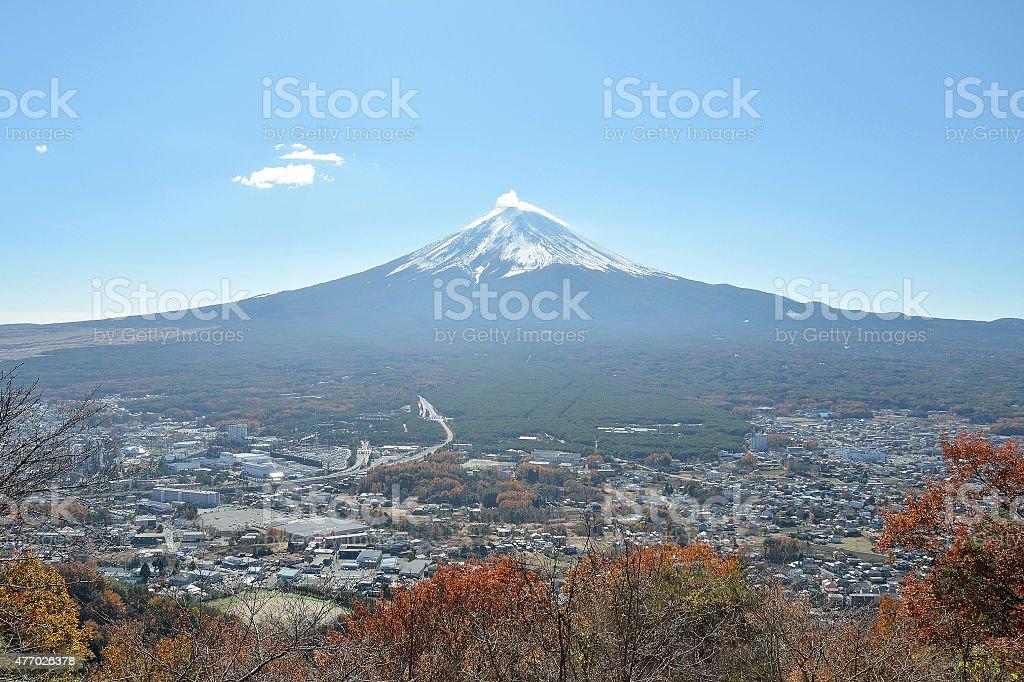 Mount fuji and city in yamanashi japan stock photo