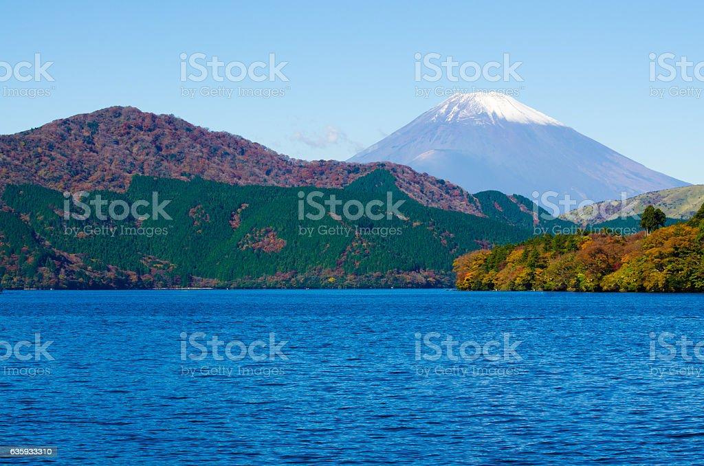 Mount Fuji and Lake Ashi in Hakone stock photo