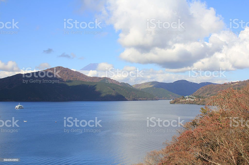 Mount Fuji and Lake Ashi stock photo
