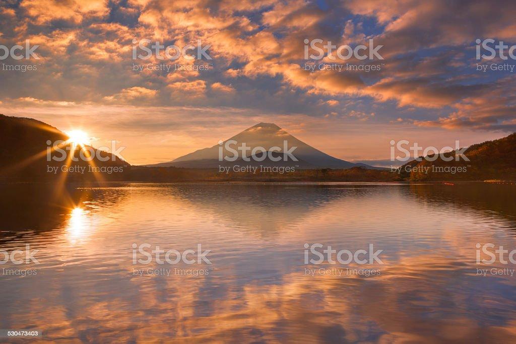 Mount Fuji and Lake Shoji in Japan at sunrise stock photo