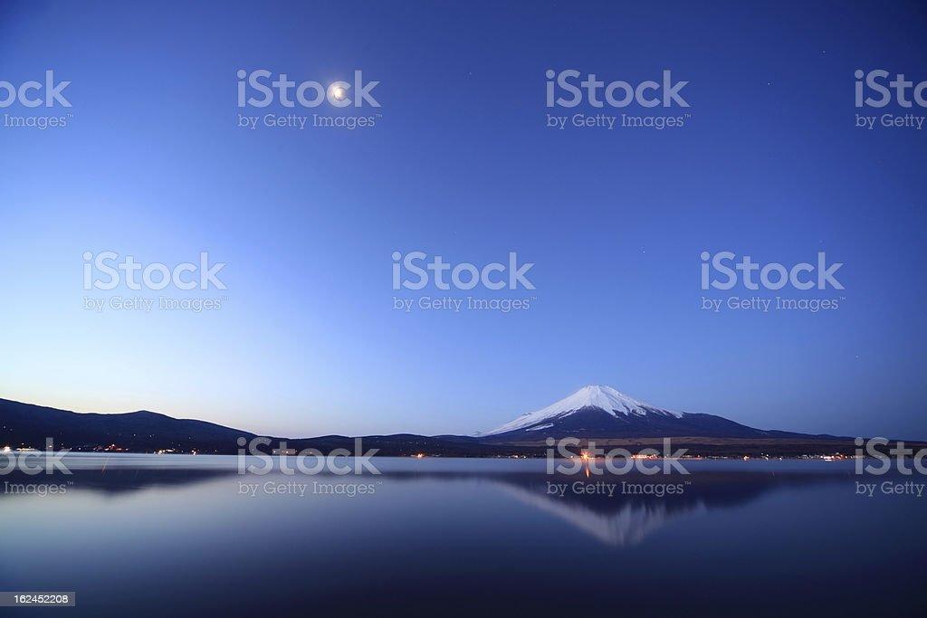 Mount Fuji and Lake Yamanaka at night. royalty-free stock photo