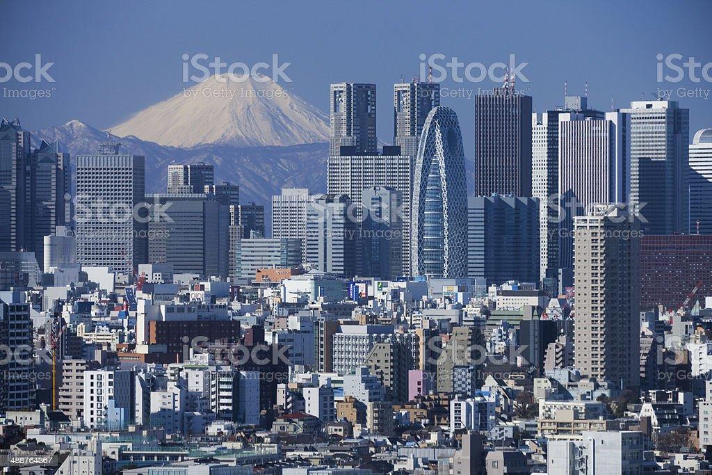 Mount Fuji and the skyscrapers of Shinjuku stock photo