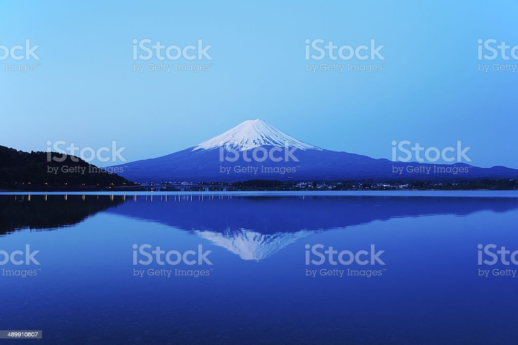 Mount Fuji at dawn stock photo