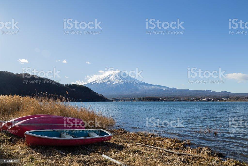 Mount Fuji at Lake Kawaguchi, Japan stock photo