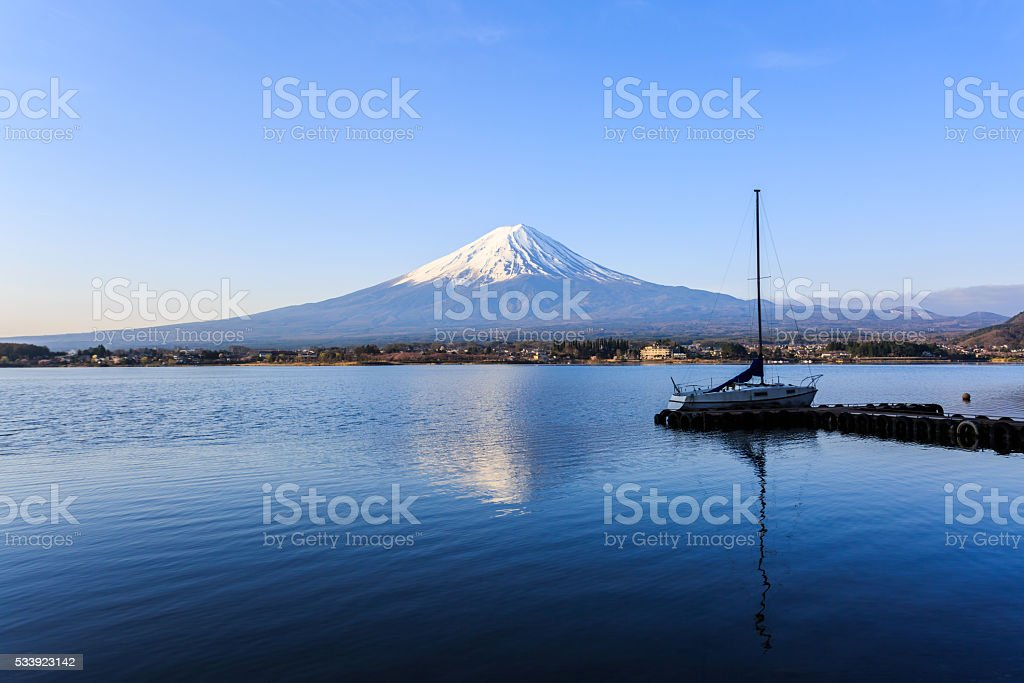 Mount fuji at Lake kawaguchiko. stock photo