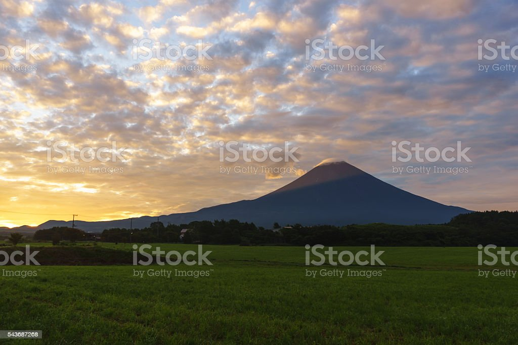 Mount Fuji in the early morning stock photo