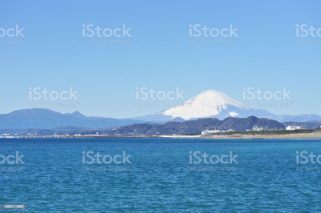 Mount Fuji which I watched from Chigasaki Beach stock photo