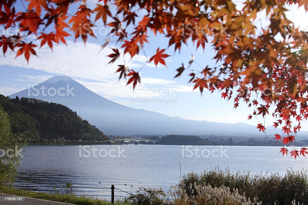 Mount Fuji with autumn colors royalty-free stock photo
