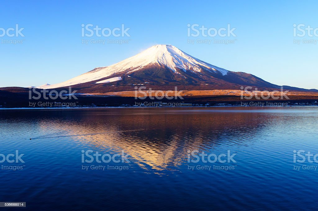 Mount Fuji with Clear Blue Sky Morning stock photo