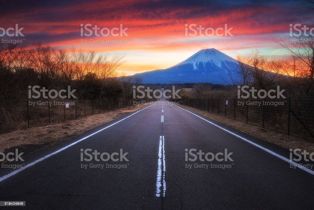 Mount Fuji with road at twilight sunrise stock photo