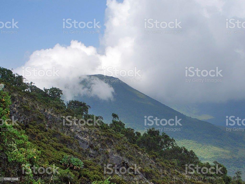 Mount Gahinga in Uganda stock photo