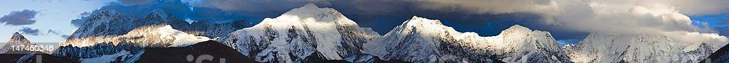 Mount Gongga Panoramic stock photo