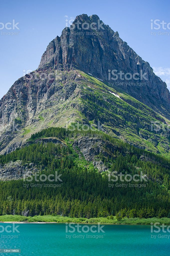 Mount Grinnel and Swiftcurrent Lake Glacier National Park Montana stock photo