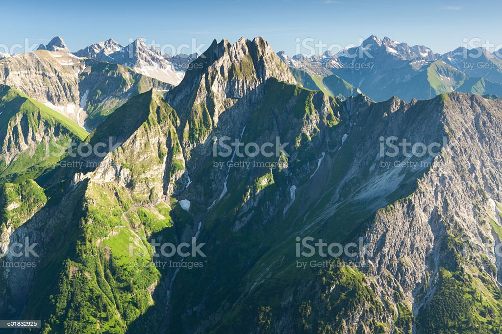 mount hoefats, seen from mt. schochen, allgaeuer alsp, bavaria, germany stock photo