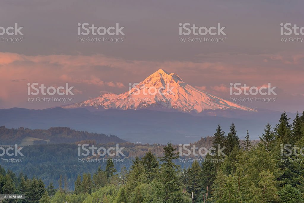 Mount Hood Alpenglow Sunset stock photo