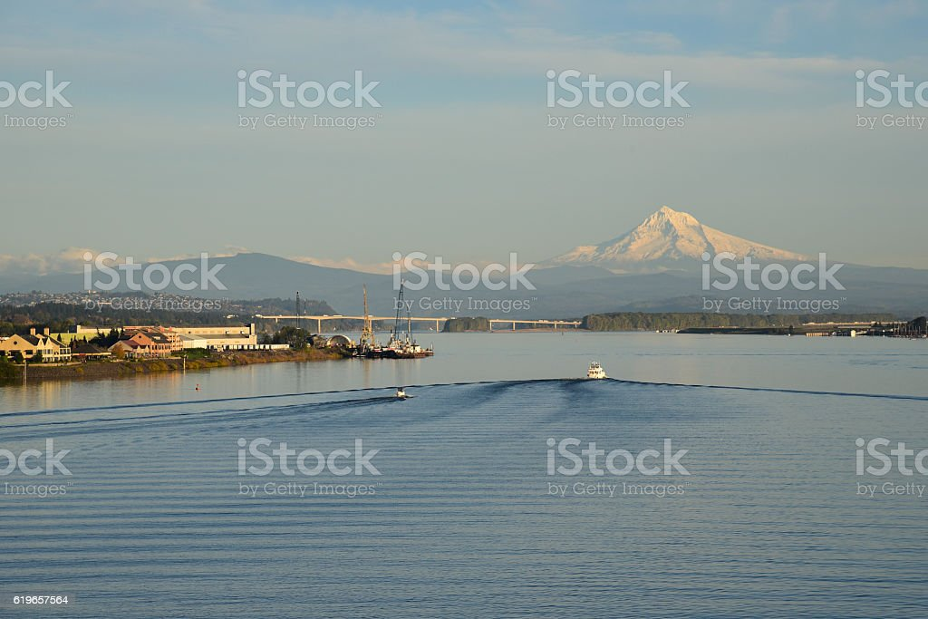 Mount Hood and the Columbia River stock photo