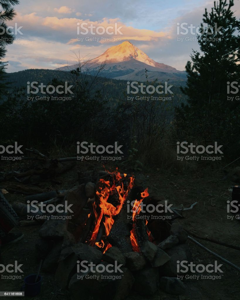Mount Hood Camping and Camp Fire stock photo