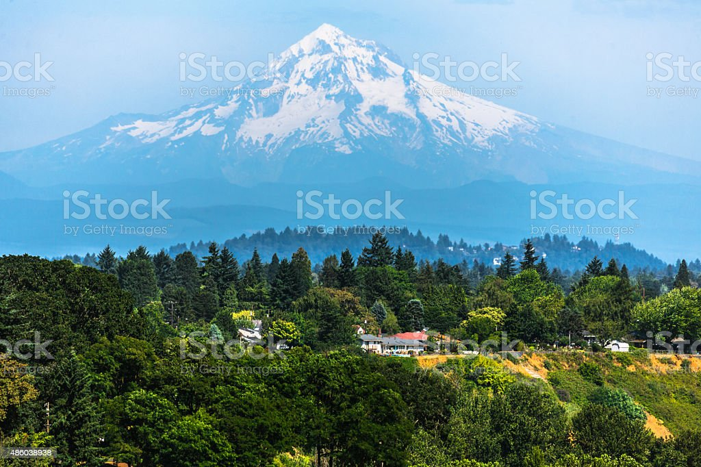 Mount Hood from Portland stock photo
