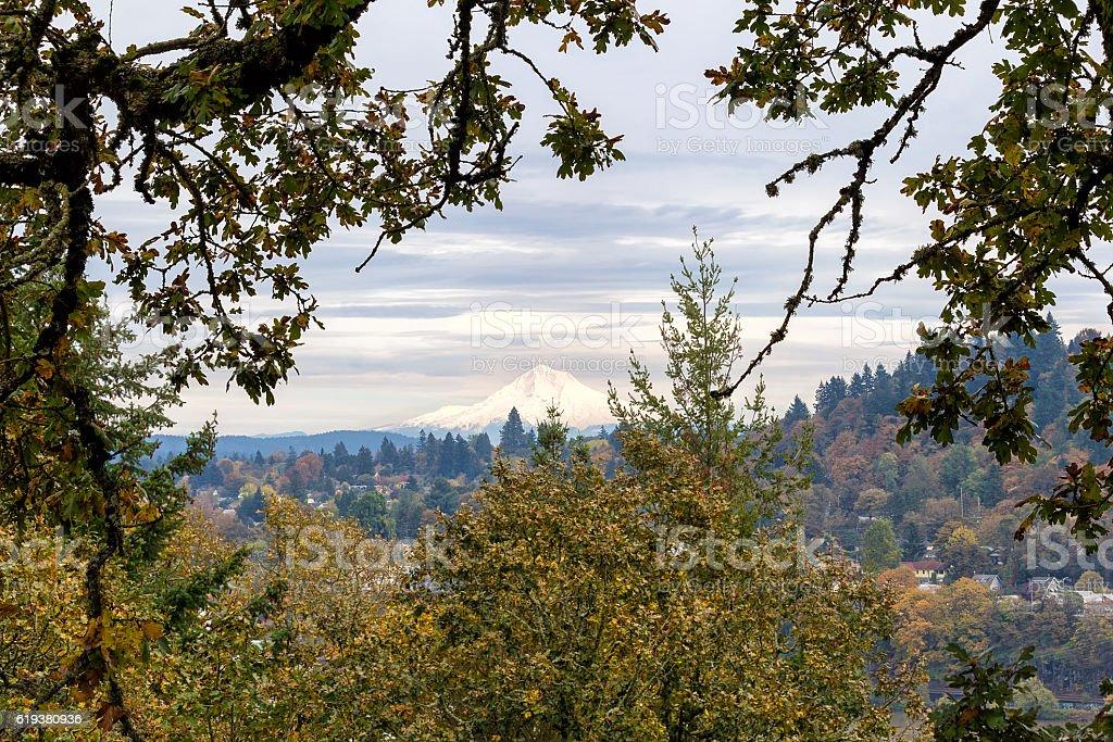 Mount Hood from Willamette Falls Overlook stock photo