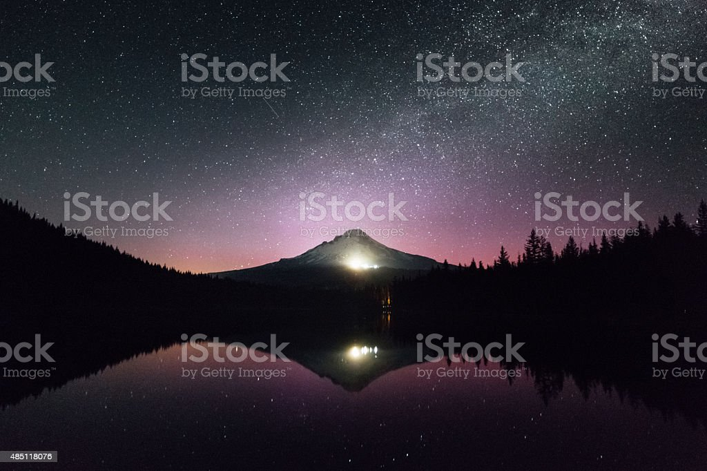 Mount Hood in Oregon reflected in the lake stock photo