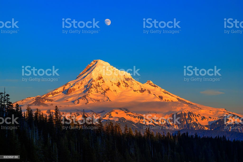 Mount Hood last light in Oregon USA stock photo