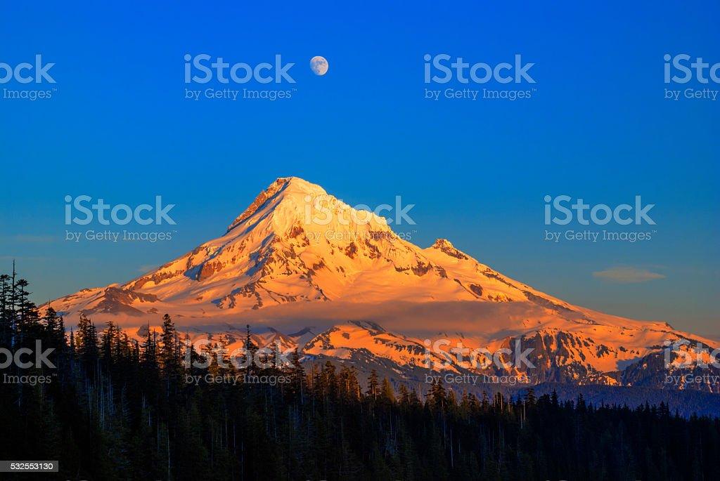 Mount Hood last light in Oregon USA stock photo