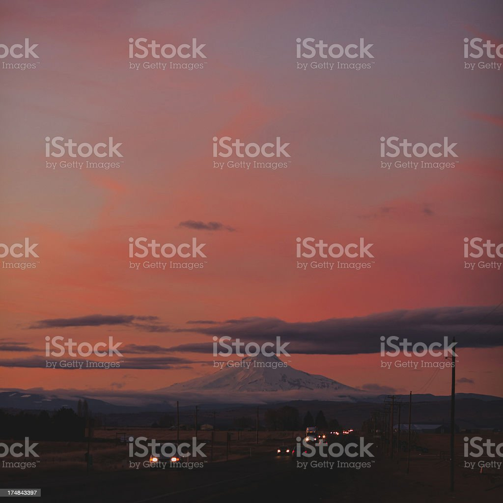 Mount Hood Oregon Cascade and Vibrent Sunset royalty-free stock photo