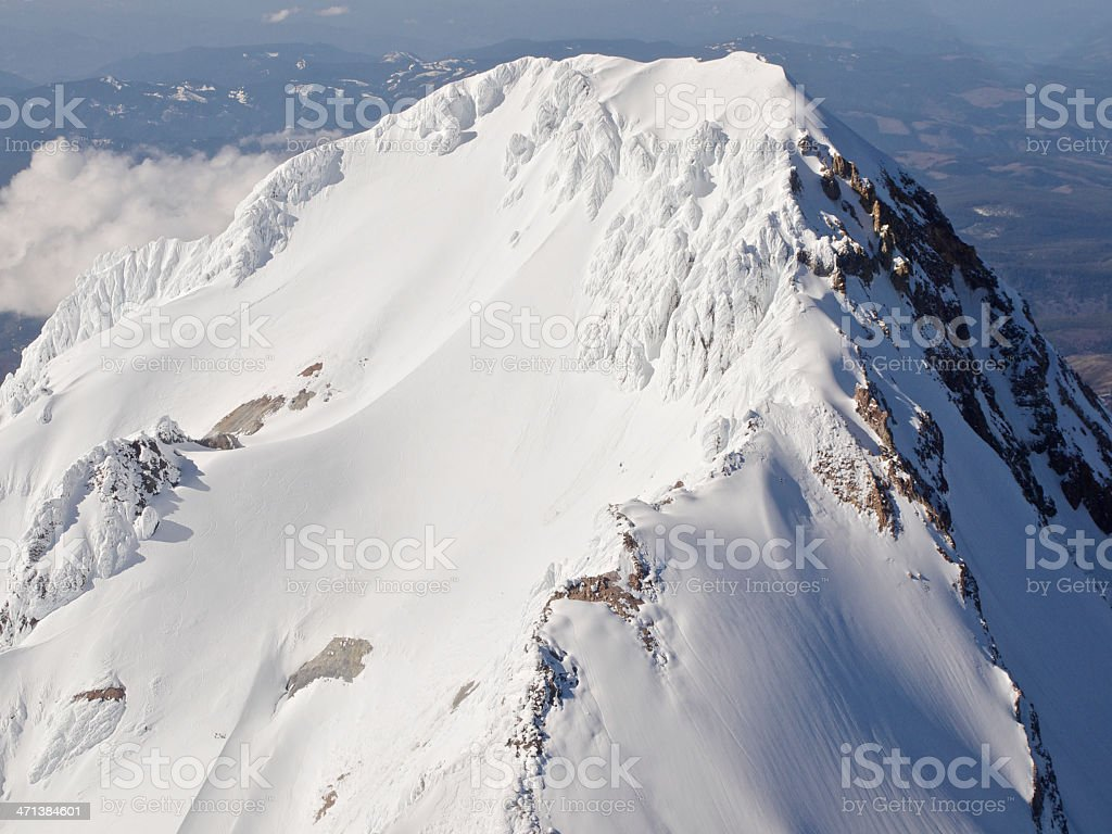 Mount Hood Peak Ridge Line Aerial View in Oregon royalty-free stock photo