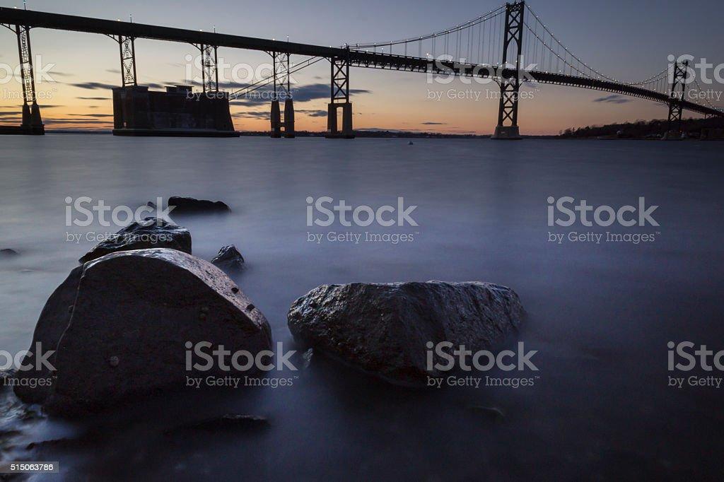 Mount Hope Bridge at Sunset stock photo