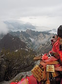 Mount Hua China clouds clearing cold winter early morning