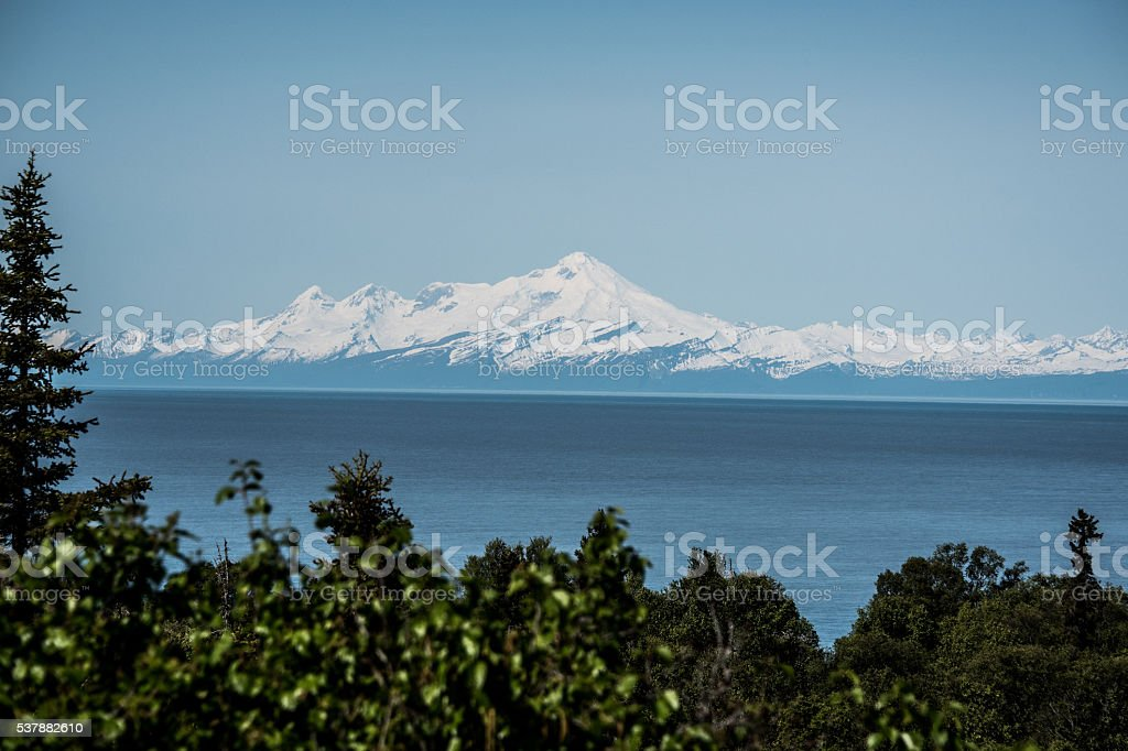 Mount Iliamna across the Cook Inlet stock photo