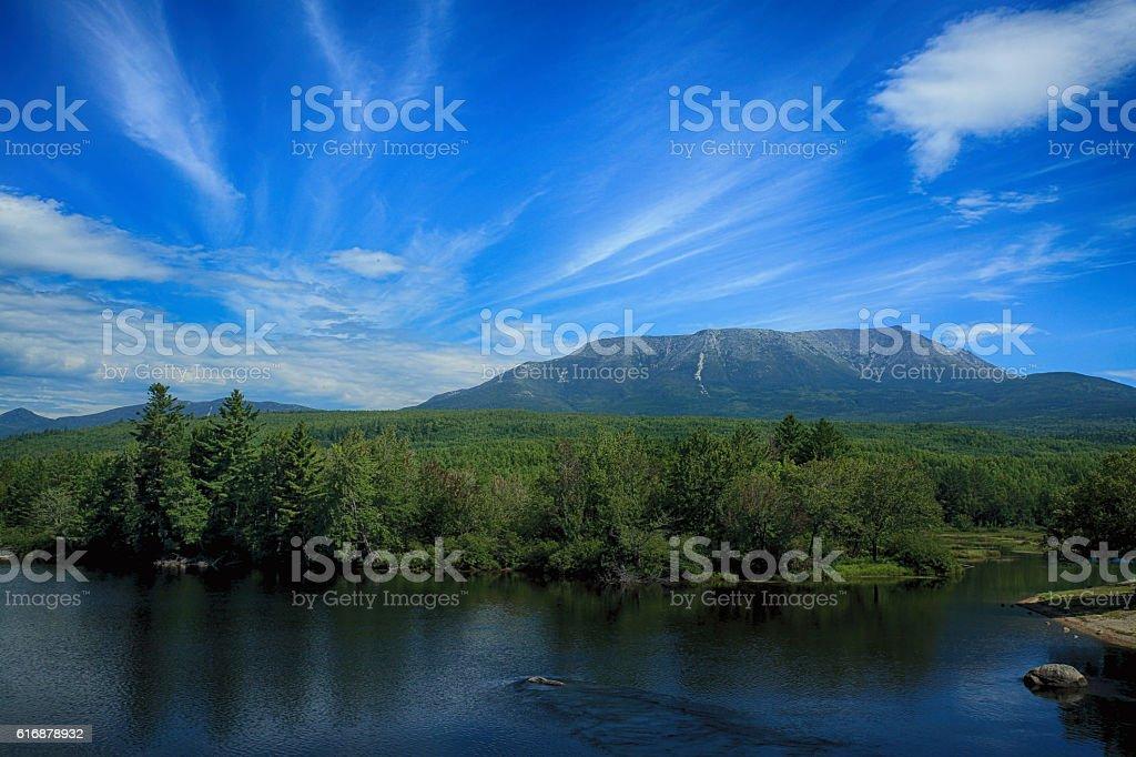 Mount Katahdin along the Penobscot River stock photo