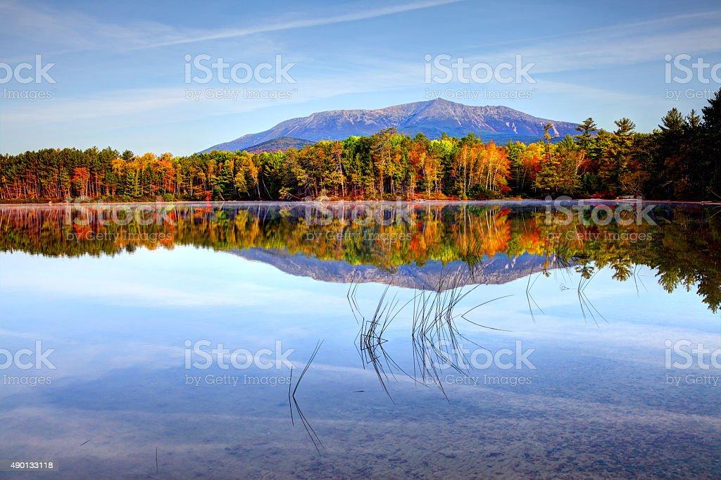 Mount Katahdin near Baxter State Park in Maine stock photo
