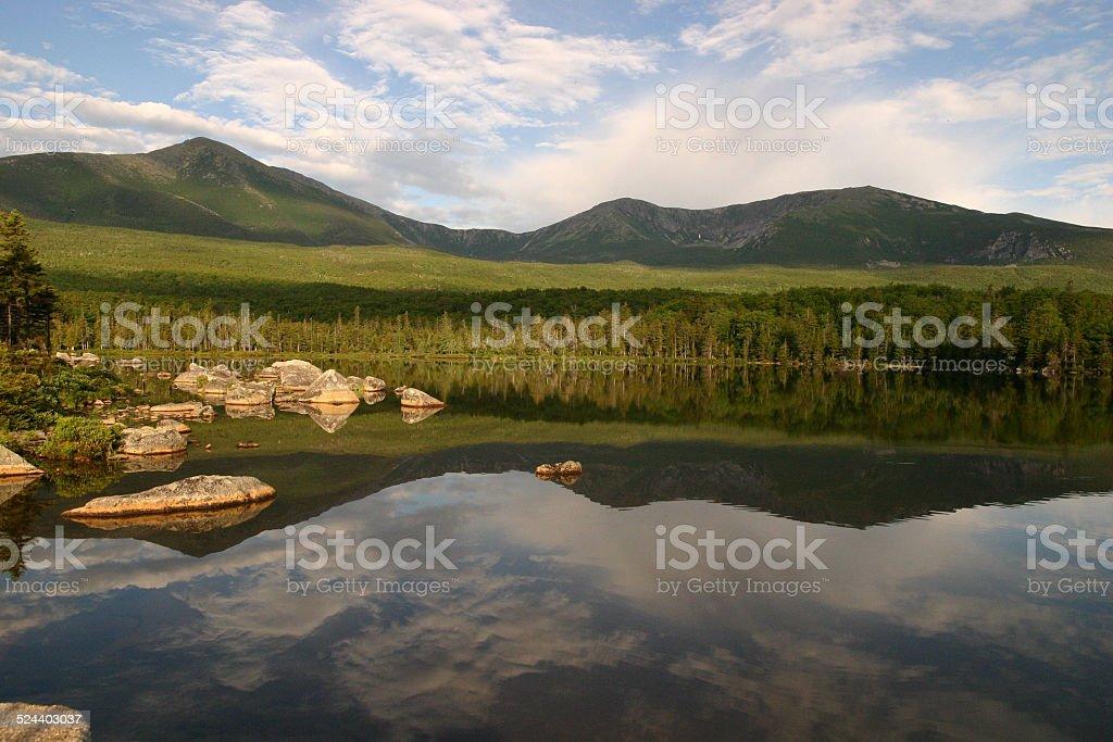 Mount Katahdin the beginning of the Appalachian Trail stock photo