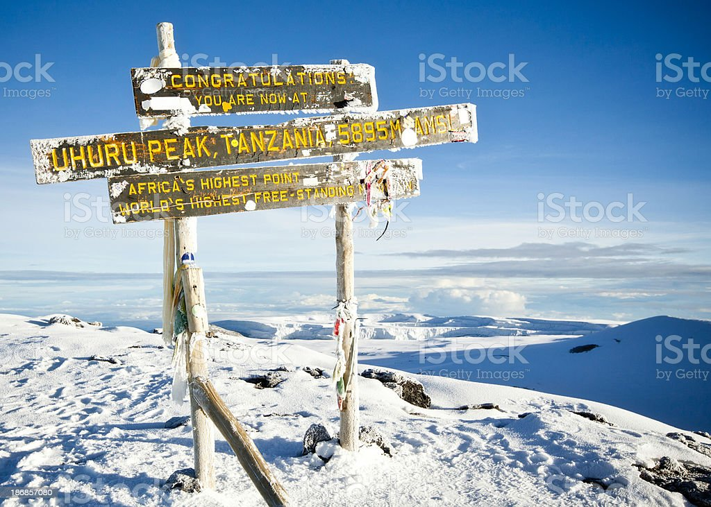 Mount Kilimanjaro - Congratulations, You Reached the Summit! stock photo