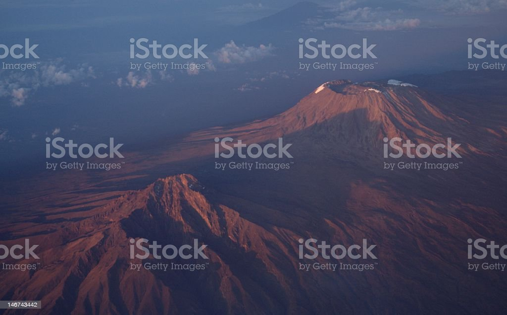 Mount Kilimanjaro from the air. stock photo