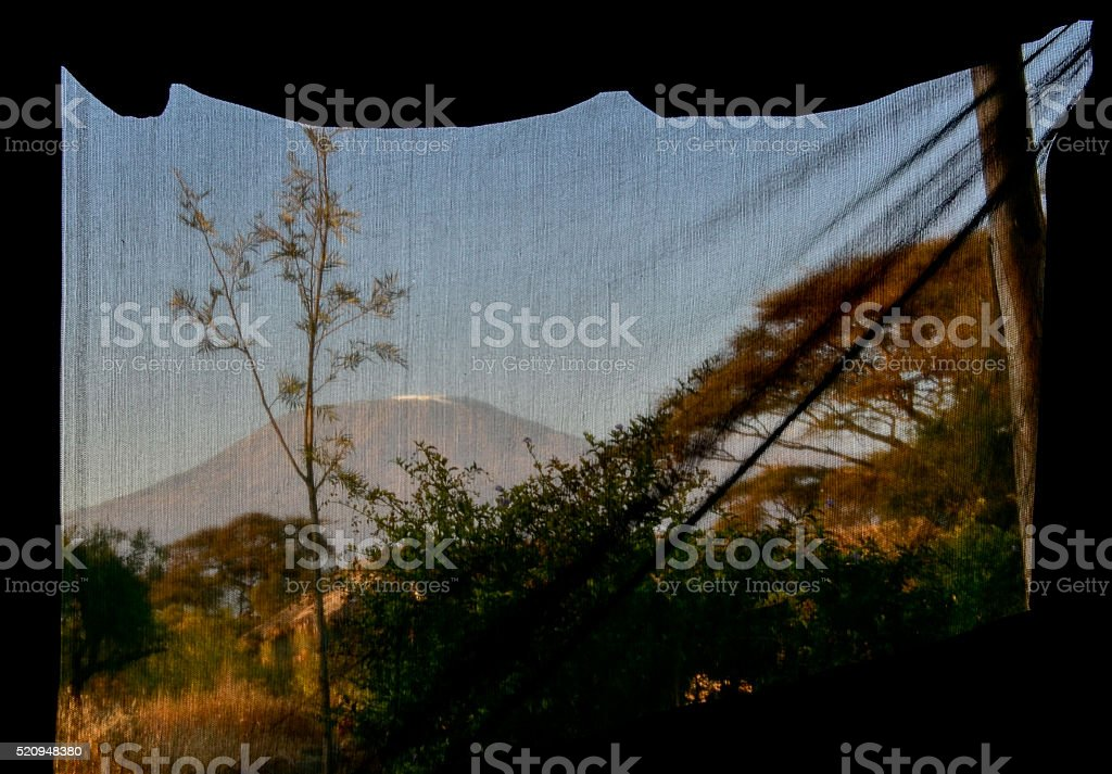 Mount Kilimanjaro from the tent stock photo