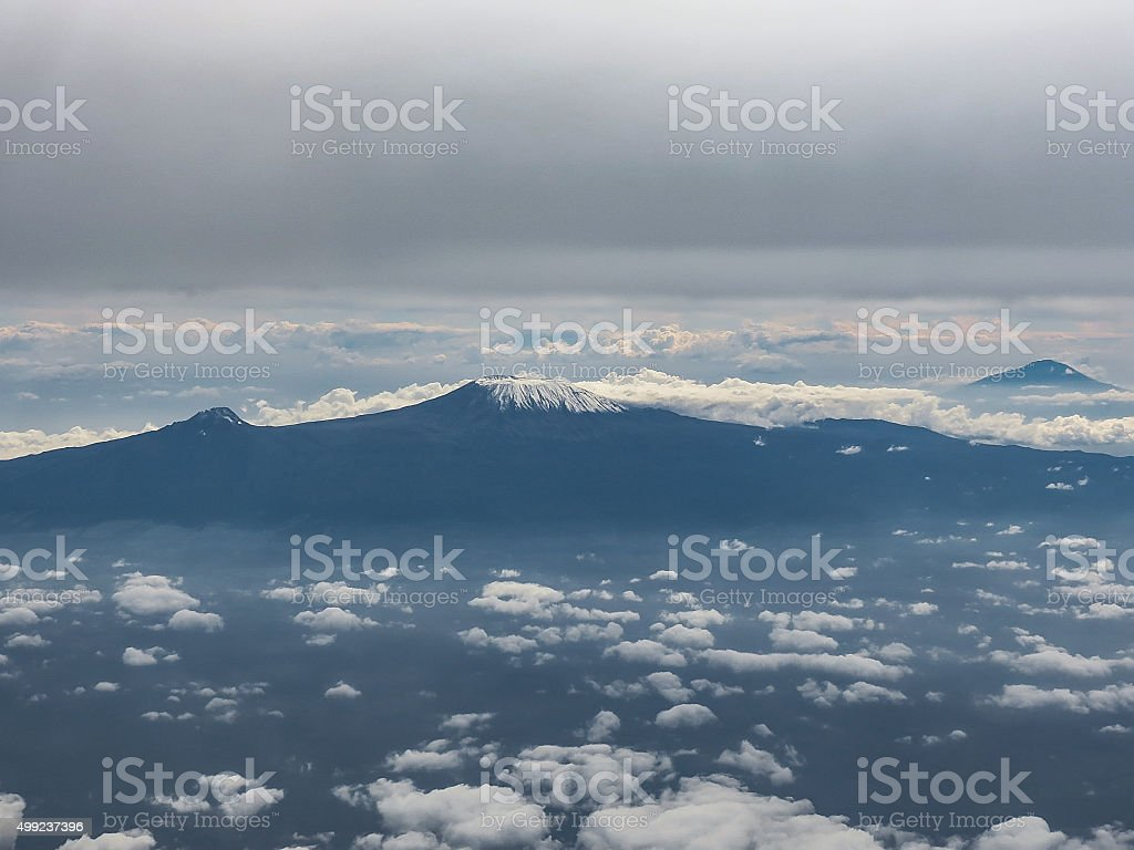 Mount Kilimanjaro seen from a plane stock photo