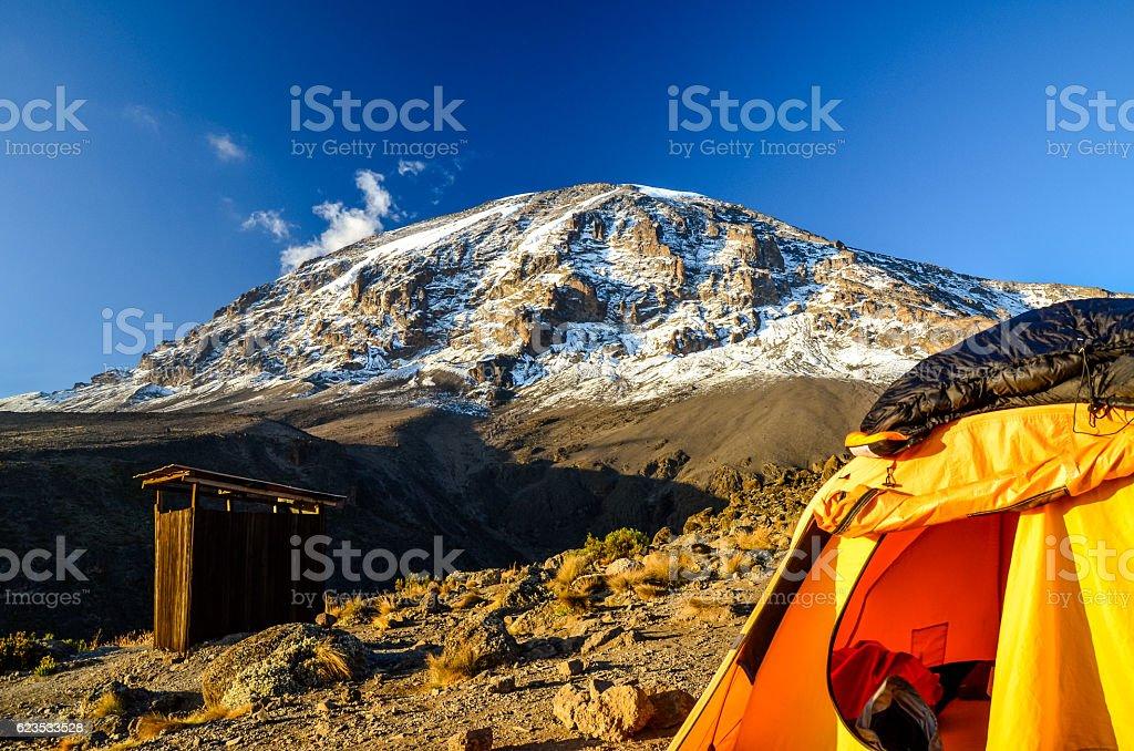 Mount Kilimanjaro with tent - Tanzania, Africa stock photo
