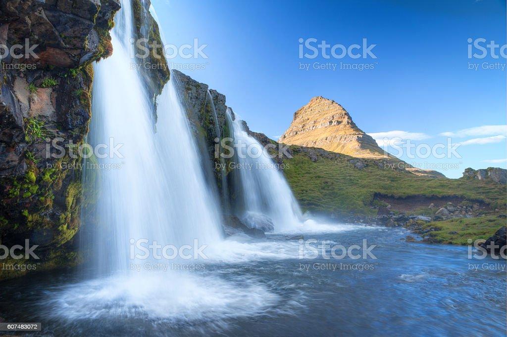 Mount Kirkjufell and Kirkjufellfoss stock photo
