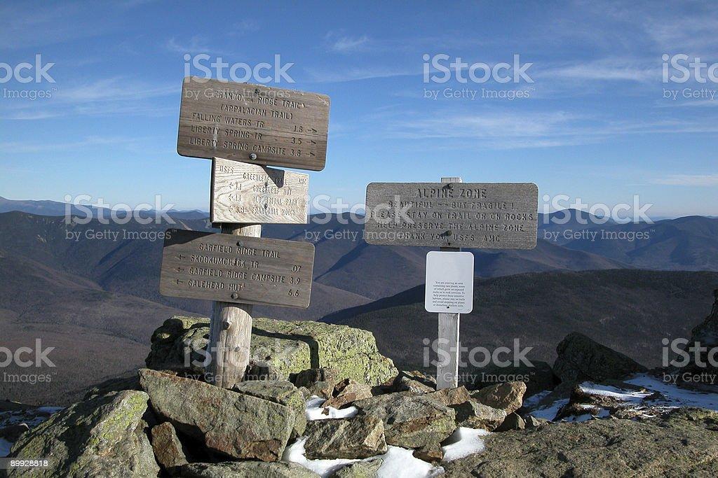 Mount Lafayette Sign at Summit, Franconia Ridge Hiking Trail stock photo