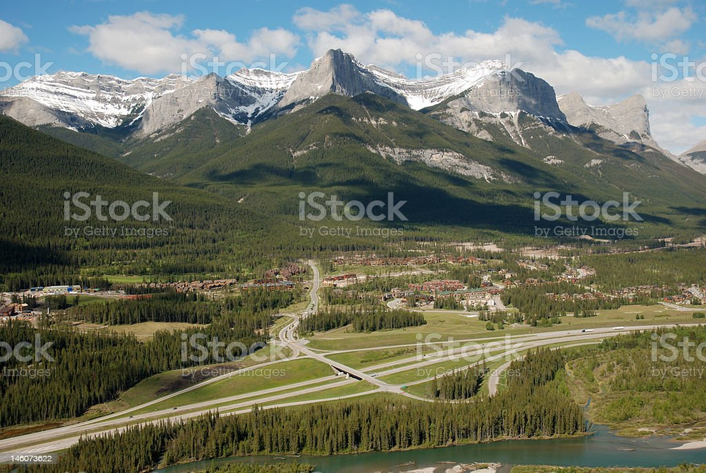 Mount Lawrence Grassi and the Trans Canada Highway stock photo