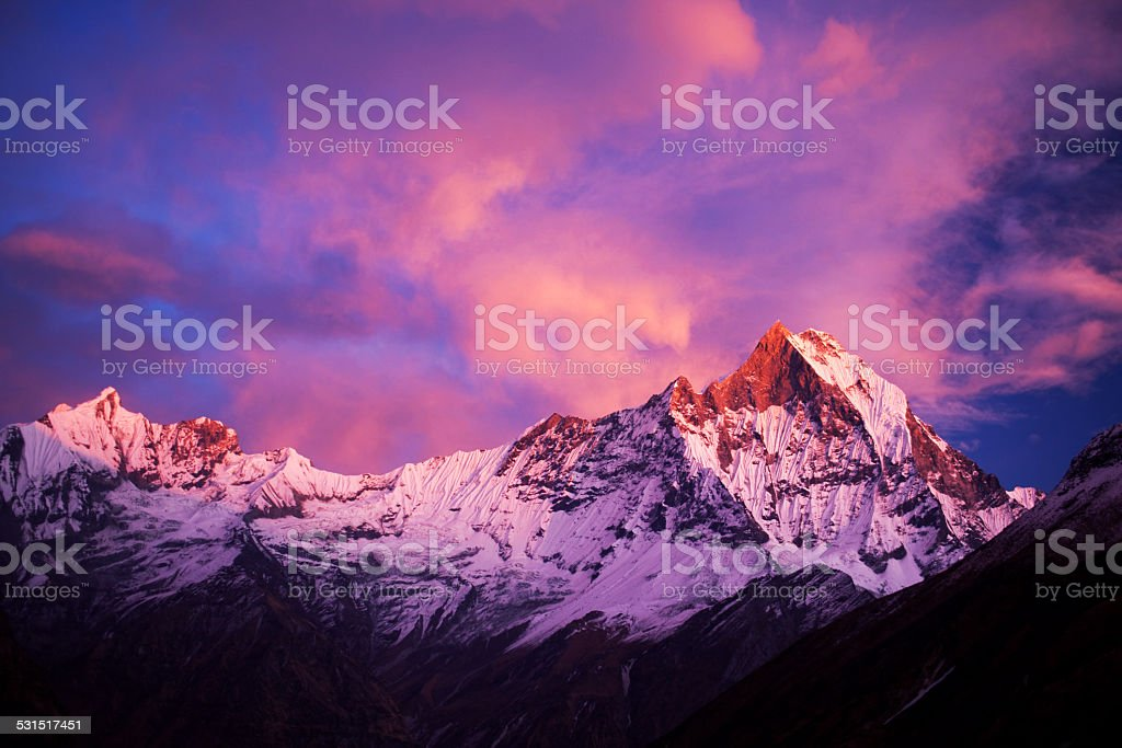 Mount Machapuchare (Fishtail) at sunset, Nepal stock photo