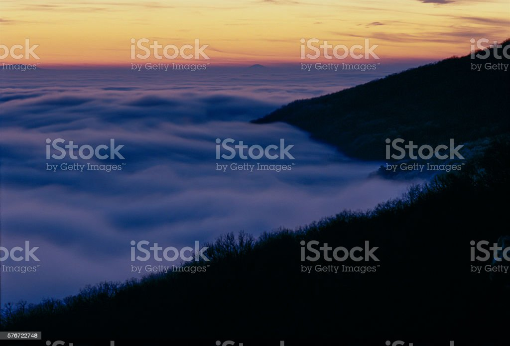 Mount  Magazine Fog after Sunset from below Lodge Site, Arkansas stock photo