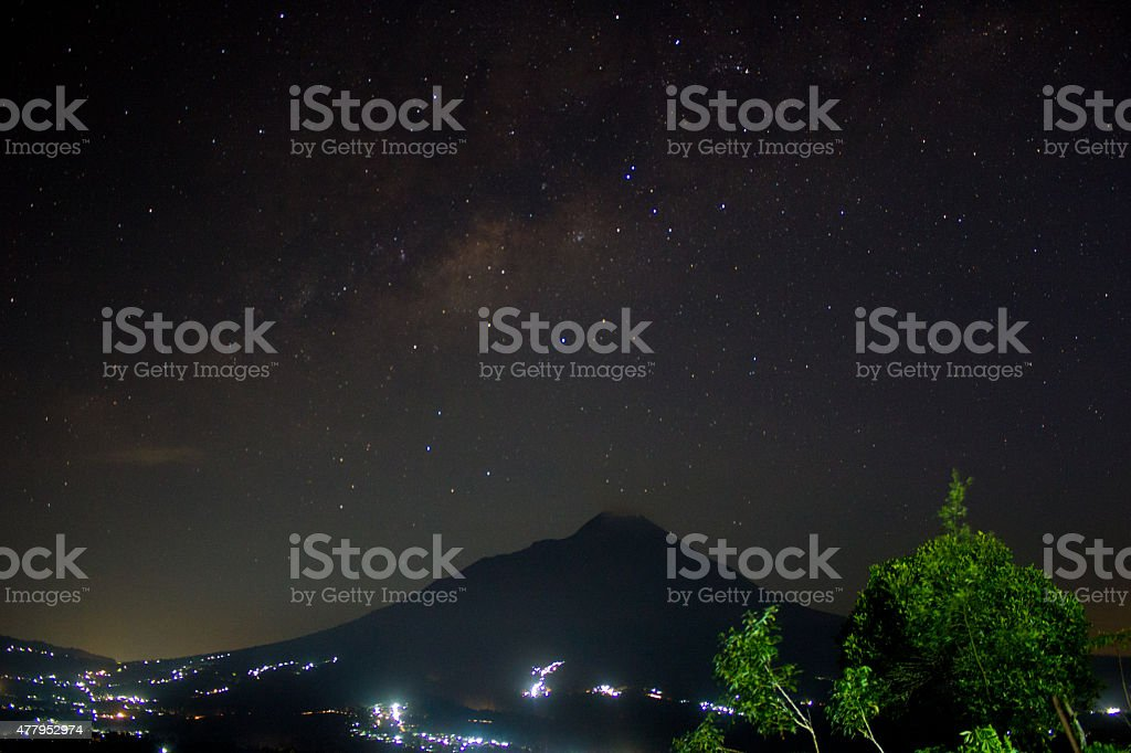 Mount Merapi and Milkyway royalty-free stock photo